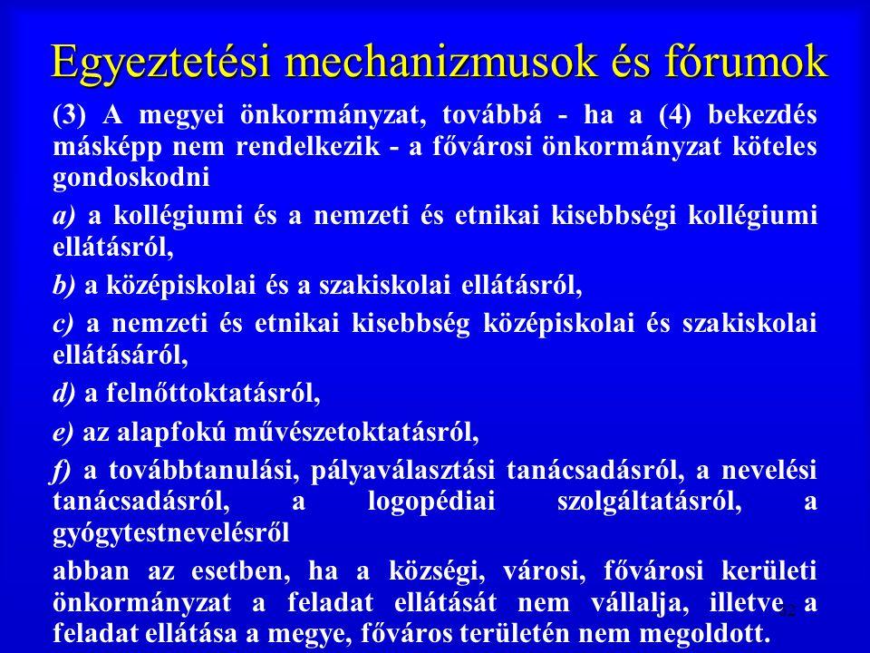 62 Egyeztetési mechanizmusok és fórumok (3) A megyei önkormányzat, továbbá - ha a (4) bekezdés másképp nem rendelkezik - a fővárosi önkormányzat kötel