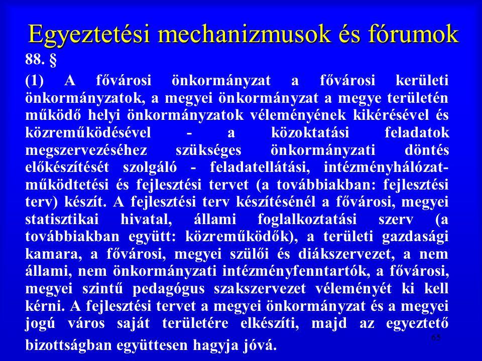 65 Egyeztetési mechanizmusok és fórumok 88. § (1) A fővárosi önkormányzat a fővárosi kerületi önkormányzatok, a megyei önkormányzat a megye területén