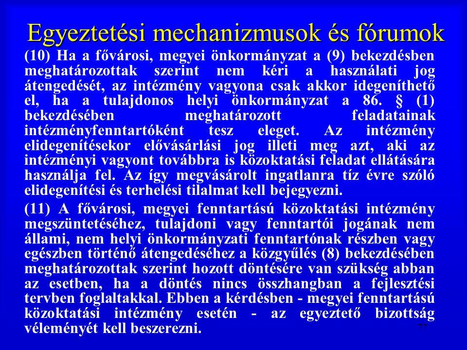 77 Egyeztetési mechanizmusok és fórumok (10) Ha a fővárosi, megyei önkormányzat a (9) bekezdésben meghatározottak szerint nem kéri a használati jog át