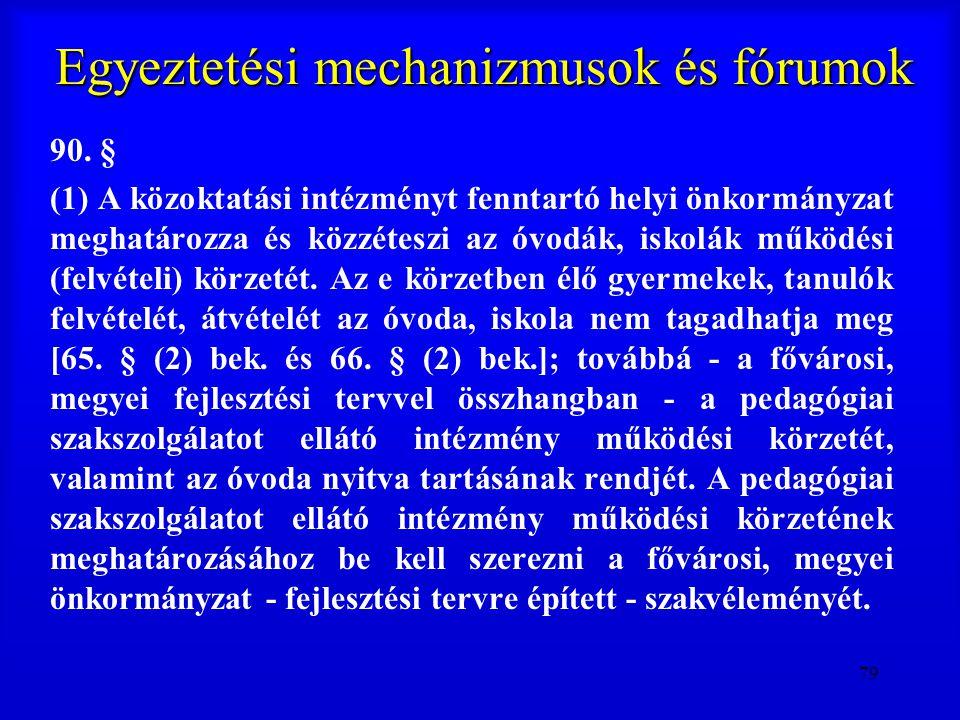 79 Egyeztetési mechanizmusok és fórumok 90. § (1) A közoktatási intézményt fenntartó helyi önkormányzat meghatározza és közzéteszi az óvodák, iskolák