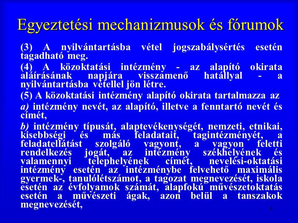 8 Egyeztetési mechanizmusok és fórumok (3) A nyilvántartásba vétel jogszabálysértés esetén tagadható meg. (4) A közoktatási intézmény - az alapító oki