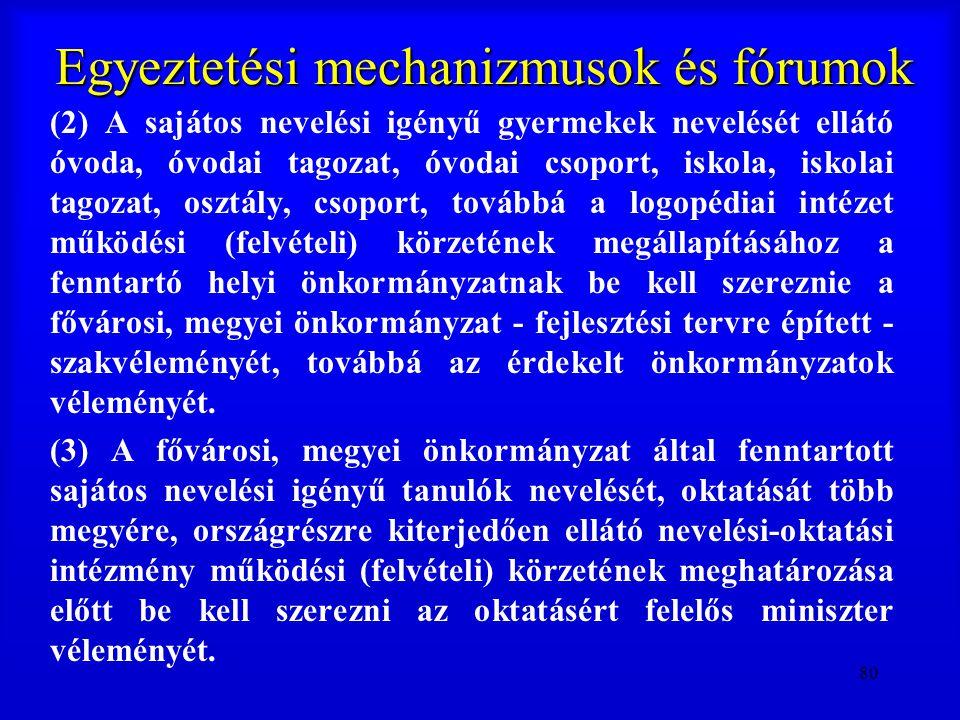 80 Egyeztetési mechanizmusok és fórumok (2) A sajátos nevelési igényű gyermekek nevelését ellátó óvoda, óvodai tagozat, óvodai csoport, iskola, iskola