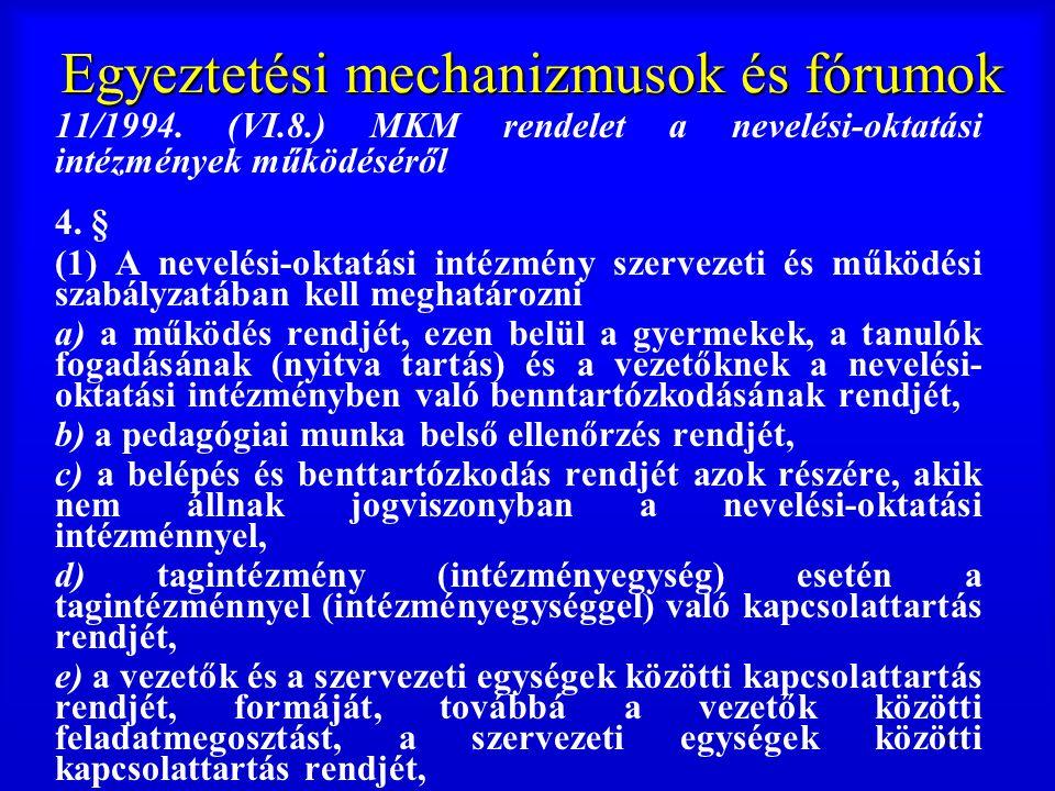 82 Egyeztetési mechanizmusok és fórumok 11/1994. (VI.8.) MKM rendelet a nevelési-oktatási intézmények működéséről 4. § (1) A nevelési-oktatási intézmé