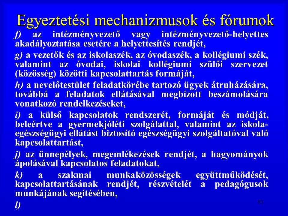 83 Egyeztetési mechanizmusok és fórumok f) az intézményvezető vagy intézményvezető-helyettes akadályoztatása esetére a helyettesítés rendjét, g) a vez
