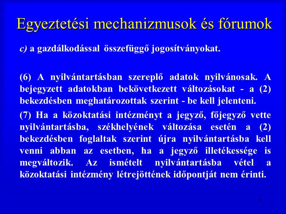 20 Egyeztetési mechanizmusok és fórumok (7) A Magyar Köztársaság címere elhelyezhető a közoktatási intézmény alapfeladatának ellátását szolgáló helyiségeiben, címtábláján, épületének homlokzatán, továbbá feltüntethető a körbélyegzőjén.