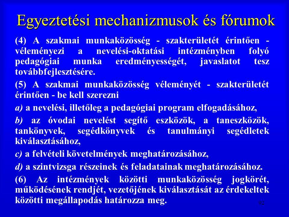 92 Egyeztetési mechanizmusok és fórumok (4) A szakmai munkaközösség - szakterületét érintően - véleményezi a nevelési-oktatási intézményben folyó peda