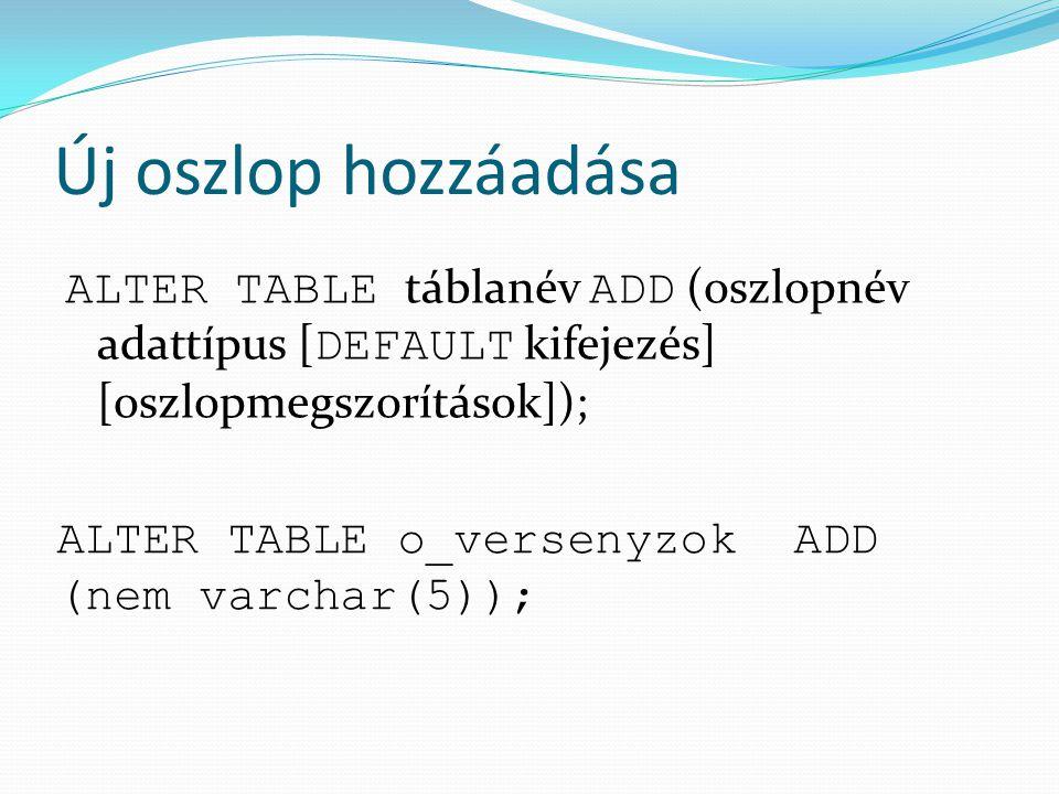 Új oszlop hozzáadása ALTER TABLE táblanév ADD (oszlopnév adattípus [ DEFAULT kifejezés] [oszlopmegszorítások]); ALTER TABLE o_versenyzok ADD (nem varc