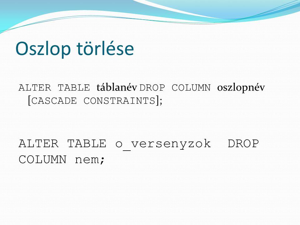 Oszlop törlése ALTER TABLE táblanév DROP COLUMN oszlopnév [ CASCADE CONSTRAINTS ]; ALTER TABLE o_versenyzok DROP COLUMN nem;