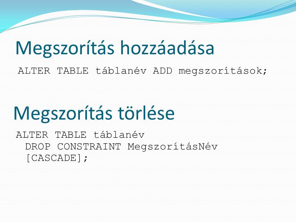 Oszlop módosítása ALTER TABLE táblanév MODIFY (oszlopnév [adattípus] [ DEFAULT kifejezés] [oszlopmegszorítások]); ALTER TABLE o_versenyzok MODIFY (nem number(1)); ALTER TABLE o_versenyzok MODIFY (szul_hely DEFAULT 'Ismeretlen');