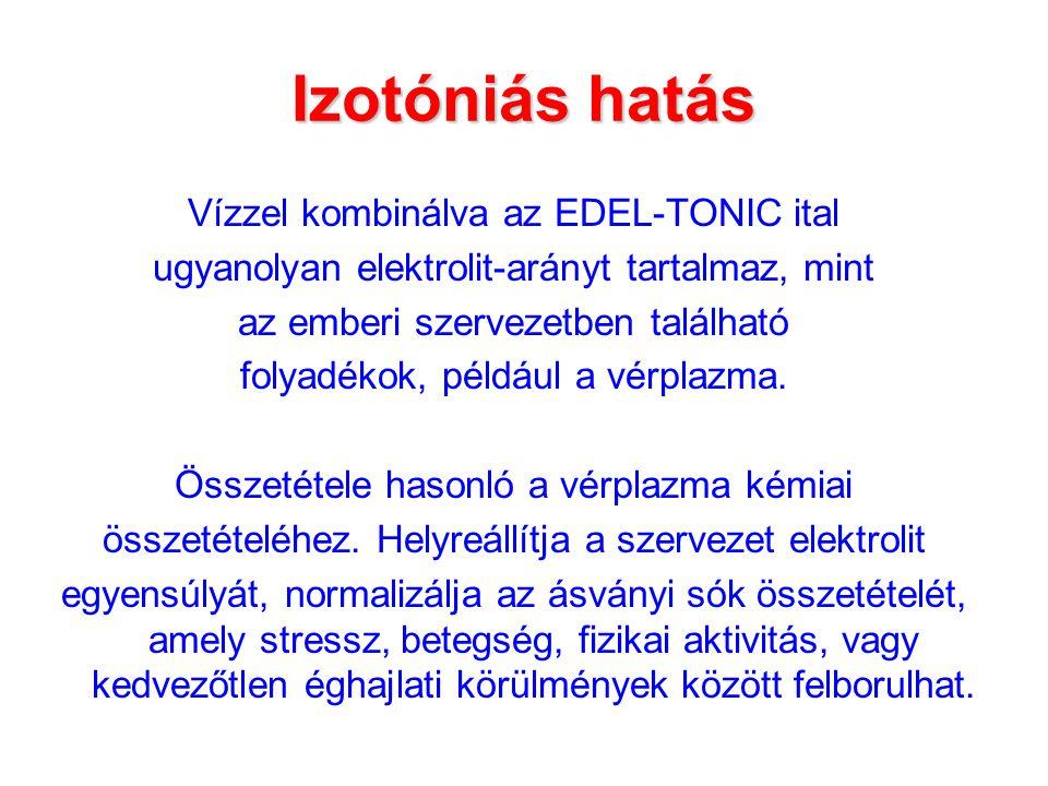 Izotóniás hatás Vízzel kombinálva az EDEL-TONIC ital ugyanolyan elektrolit-arányt tartalmaz, mint az emberi szervezetben található folyadékok, például a vérplazma.