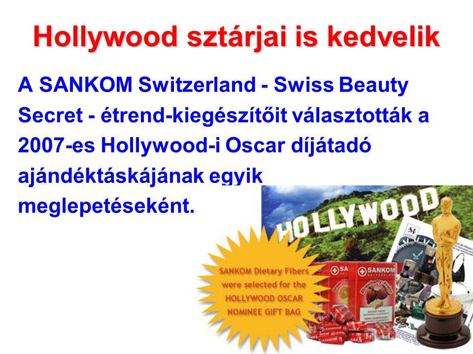 Hollywood sztárjai is kedvelik A SANKOM Switzerland - Swiss Beauty Secret - étrend-kiegészítőit választották a 2007-es Hollywood-i Oscar díjátadó ajándéktáskájának egyik meglepetéseként.
