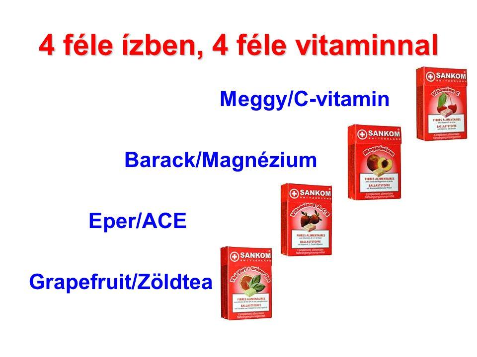 4 féle ízben, 4 féle vitaminnal Meggy/C-vitamin Barack/Magnézium Eper/ACE Grapefruit/Zöldtea