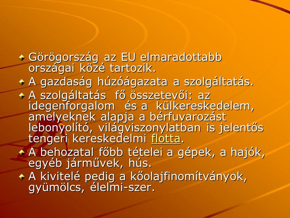 Görögország az EU elmaradottabb országai közé tartozik. A gazdaság húzóágazata a szolgáltatás. A szolgáltatás fő összetevői: az idegenforgalom és a kü