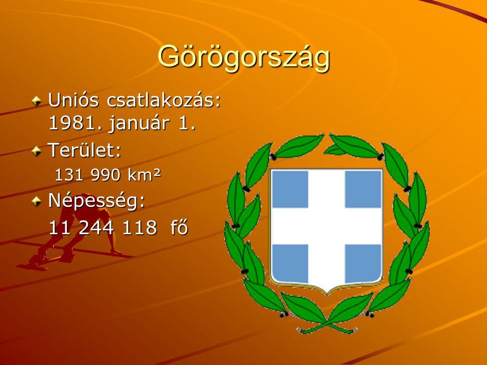 Görögország Uniós csatlakozás: 1981. január 1. Terület: 131 990 km² Népesség: 11 244 118 fő