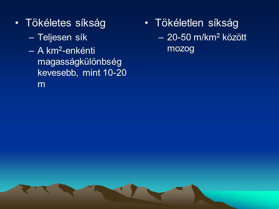 Tökéletes síkság –Teljesen sík –A km 2 -enkénti magasságkülönbség kevesebb, mint 10-20 m Tökéletlen síkság –20-50 m/km 2 között mozog
