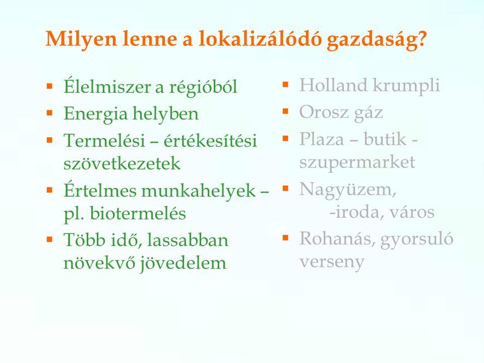 Milyen lenne a lokalizálódó gazdaság?  Élelmiszer a régióból  Energia helyben  Termelési – értékesítési szövetkezetek  Értelmes munkahelyek – pl.