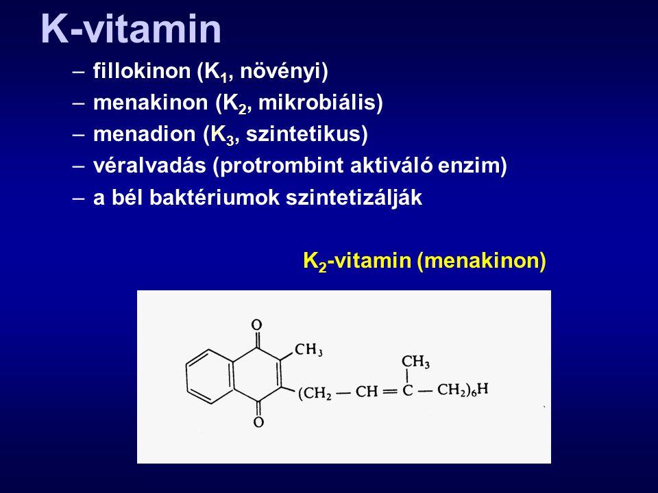 K-vitamin –fillokinon (K 1, növényi) –menakinon (K 2, mikrobiális) –menadion (K 3, szintetikus) –véralvadás (protrombint aktiváló enzim) –a bél baktér