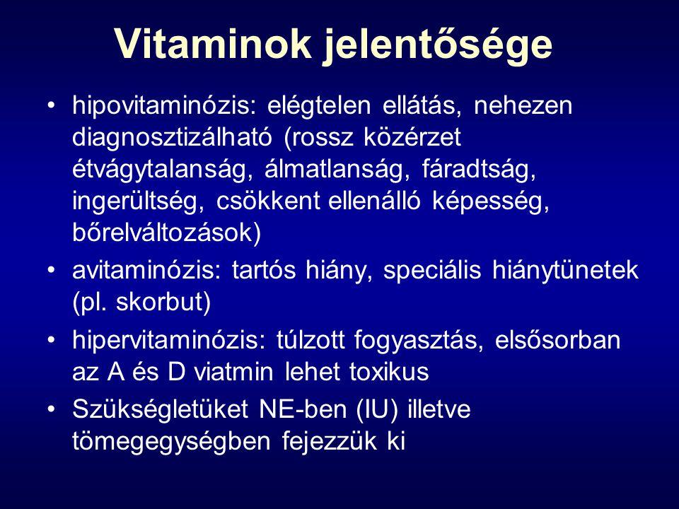 Vitaminok jelentősége hipovitaminózis: elégtelen ellátás, nehezen diagnosztizálható (rossz közérzet étvágytalanság, álmatlanság, fáradtság, ingerültsé