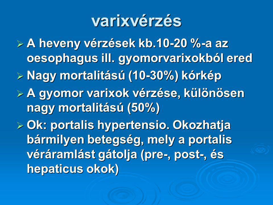 varixvérzés  A heveny vérzések kb.10-20 %-a az oesophagus ill.