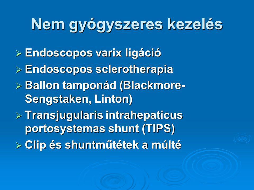 Nem gyógyszeres kezelés  Endoscopos varix ligáció  Endoscopos sclerotherapia  Ballon tamponád (Blackmore- Sengstaken, Linton)  Transjugularis intrahepaticus portosystemas shunt (TIPS)  Clip és shuntműtétek a múlté