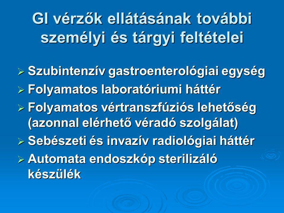 GI vérzők ellátásának további személyi és tárgyi feltételei  Szubintenzív gastroenterológiai egység  Folyamatos laboratóriumi háttér  Folyamatos vértranszfúziós lehetőség (azonnal elérhető véradó szolgálat)  Sebészeti és invazív radiológiai háttér  Automata endoszkóp sterilizáló készülék