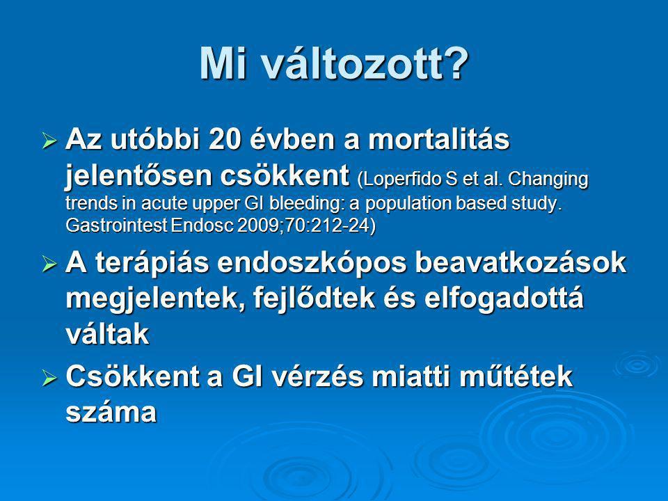 Mi változott. Az utóbbi 20 évben a mortalitás jelentősen csökkent (Loperfido S et al.