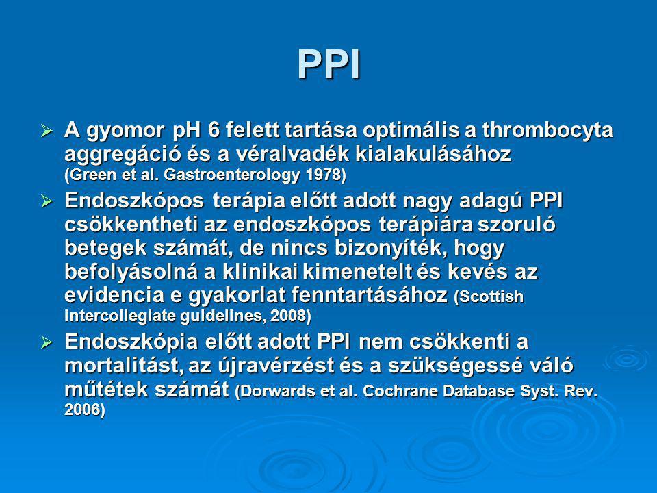PPI  A gyomor pH 6 felett tartása optimális a thrombocyta aggregáció és a véralvadék kialakulásához (Green et al.