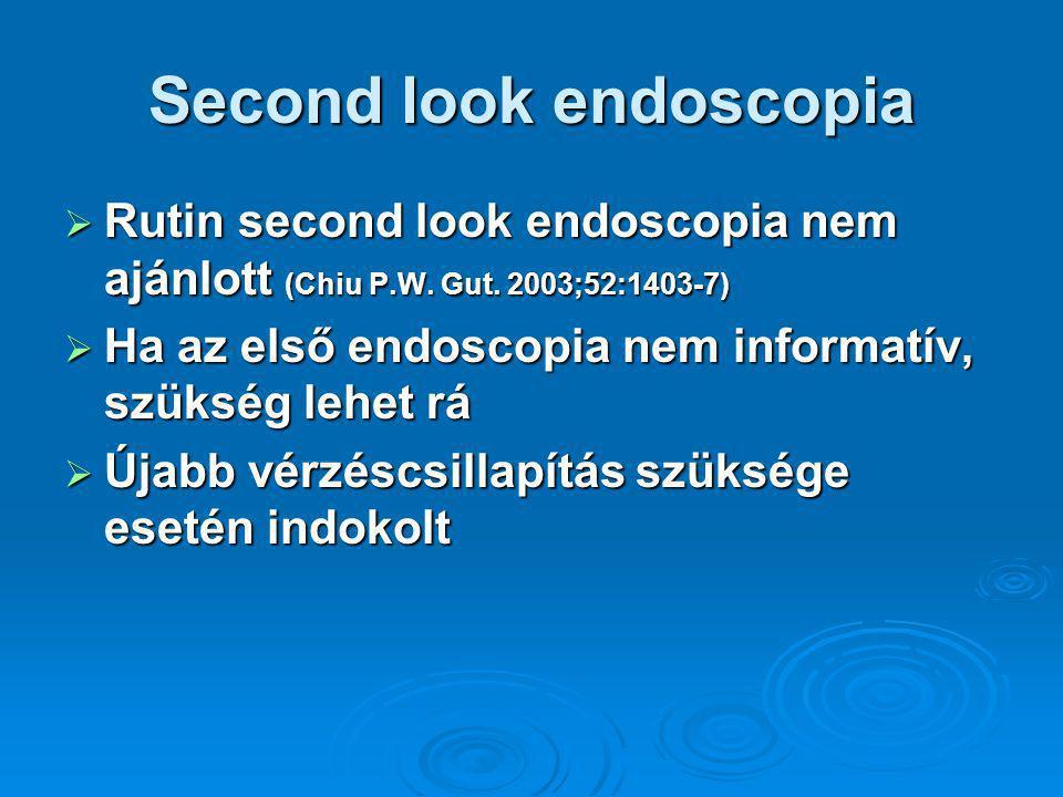 Second look endoscopia  Rutin second look endoscopia nem ajánlott (Chiu P.W.