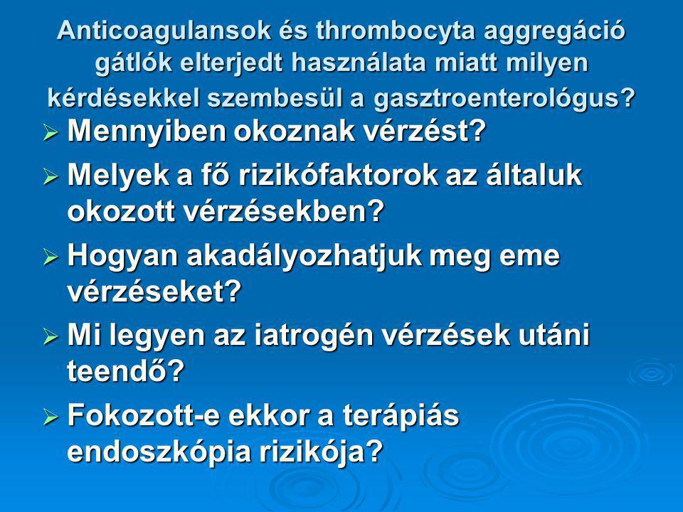 Anticoagulansok és thrombocyta aggregáció gátlók elterjedt használata miatt milyen kérdésekkel szembesül a gasztroenterológus.