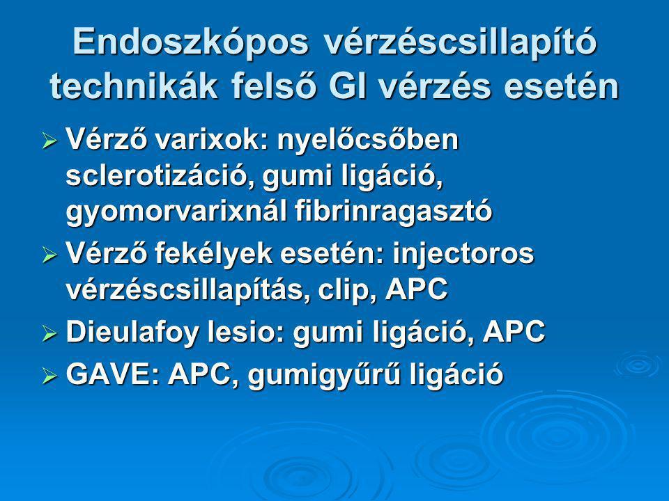 Endoszkópos vérzéscsillapító technikák felső GI vérzés esetén  Vérző varixok: nyelőcsőben sclerotizáció, gumi ligáció, gyomorvarixnál fibrinragasztó  Vérző fekélyek esetén: injectoros vérzéscsillapítás, clip, APC  Dieulafoy lesio: gumi ligáció, APC  GAVE: APC, gumigyűrű ligáció