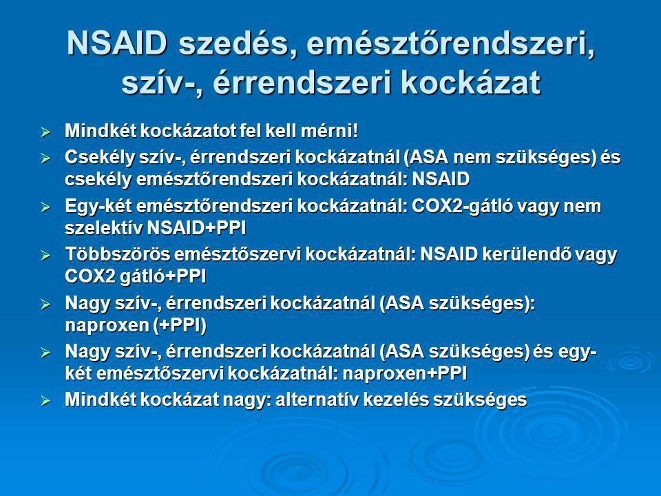 NSAID szedés, emésztőrendszeri, szív-, érrendszeri kockázat  Mindkét kockázatot fel kell mérni.