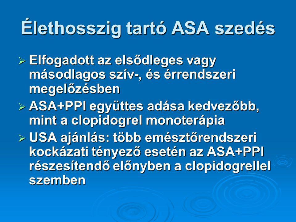 Élethosszig tartó ASA szedés  Elfogadott az elsődleges vagy másodlagos szív-, és érrendszeri megelőzésben  ASA+PPI együttes adása kedvezőbb, mint a clopidogrel monoterápia  USA ajánlás: több emésztőrendszeri kockázati tényező esetén az ASA+PPI részesítendő előnyben a clopidogrellel szemben