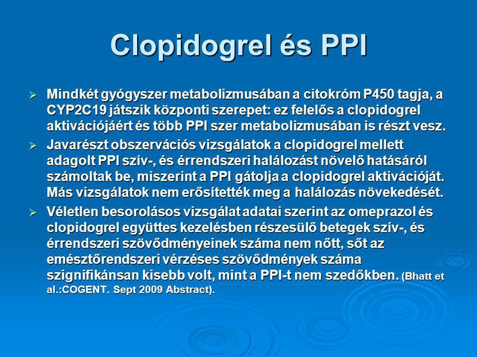 Clopidogrel és PPI  Mindkét gyógyszer metabolizmusában a citokróm P450 tagja, a CYP2C19 játszik központi szerepet: ez felelős a clopidogrel aktivációjáért és több PPI szer metabolizmusában is részt vesz.