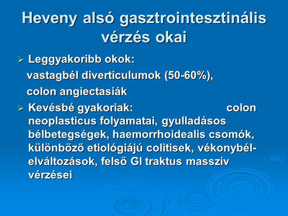 Heveny alsó gasztrointesztinális vérzés okai  Leggyakoribb okok: vastagbél diverticulumok (50-60%), vastagbél diverticulumok (50-60%), colon angiectasiák colon angiectasiák  Kevésbé gyakoriak: colon neoplasticus folyamatai, gyulladásos bélbetegségek, haemorrhoidealis csomók, különböző etiológiájú colitisek, vékonybél- elváltozások, felső GI traktus masszív vérzései