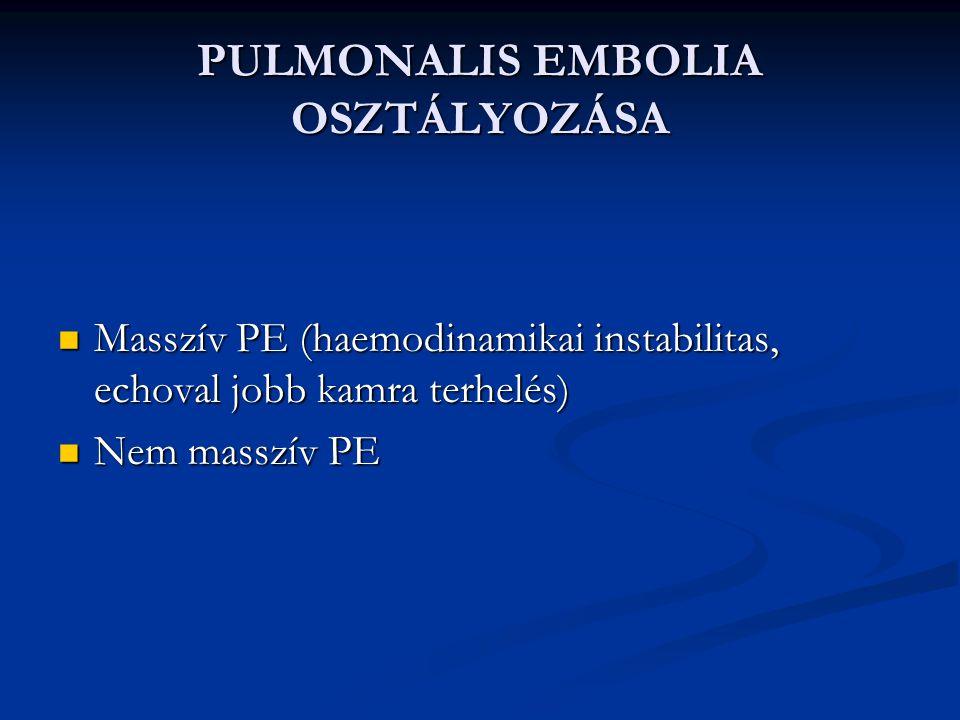 PULMONALIS EMBOLIA OSZTÁLYOZÁSA Masszív PE (haemodinamikai instabilitas, echoval jobb kamra terhelés) Masszív PE (haemodinamikai instabilitas, echoval