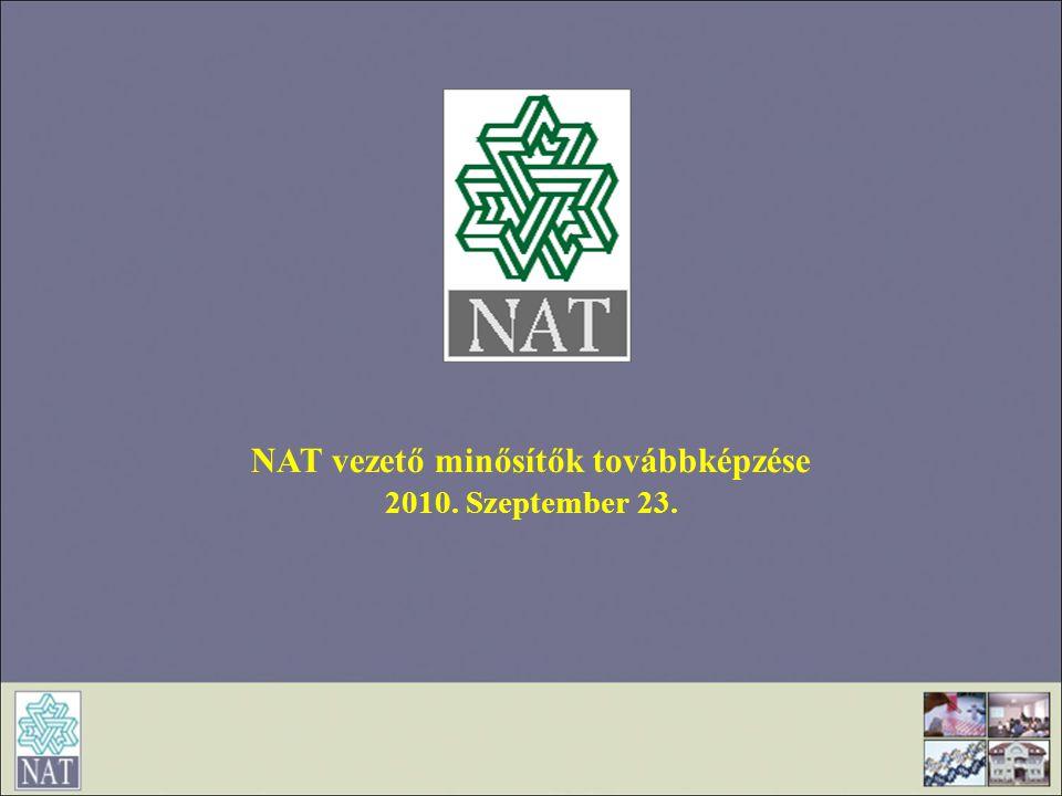 NAT vezető minősítők továbbképzése 2010. Szeptember 23.