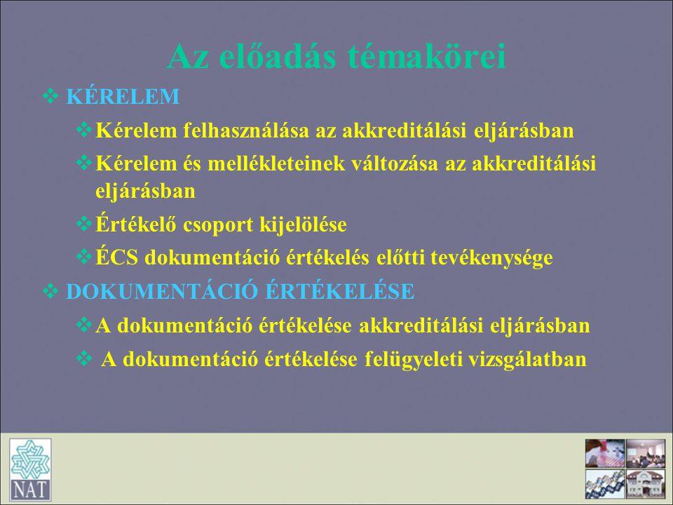 Az előadás témakörei  KÉRELEM  Kérelem felhasználása az akkreditálási eljárásban  Kérelem és mellékleteinek változása az akkreditálási eljárásban 