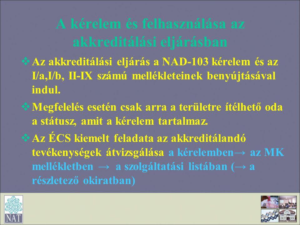 A kérelem és felhasználása az akkreditálási eljárásban  Az akkreditálási eljárás a NAD-103 kérelem és az I/a,I/b, II-IX számú mellékleteinek benyújtá