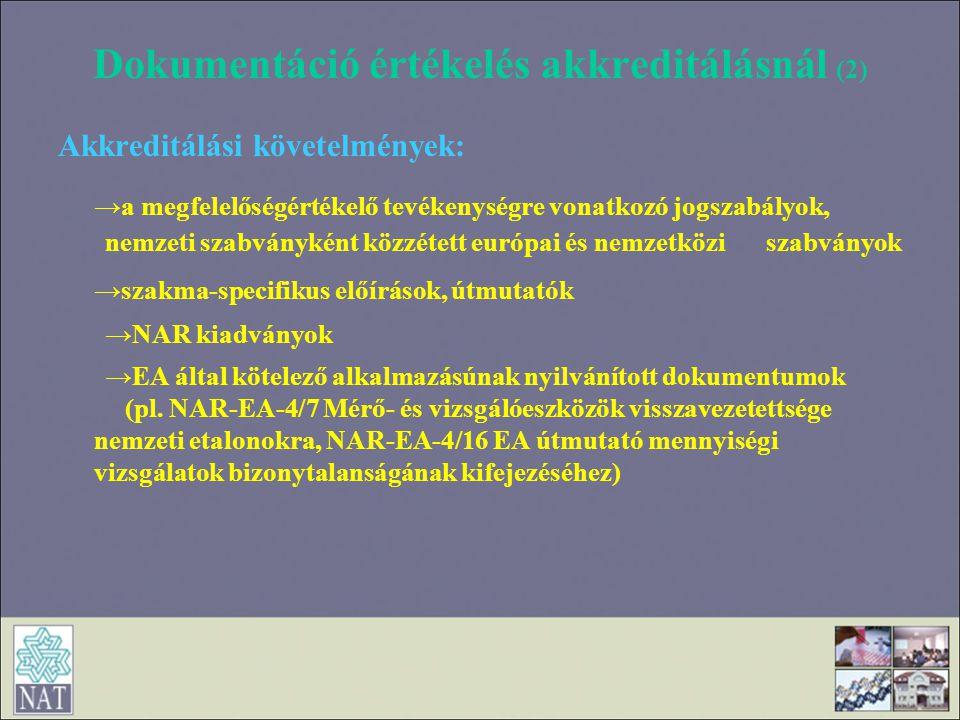 Dokumentáció értékelés akkreditálásnál (2) Akkreditálási követelmények: →a megfelelőségértékelő tevékenységre vonatkozó jogszabályok, nemzeti szabvány