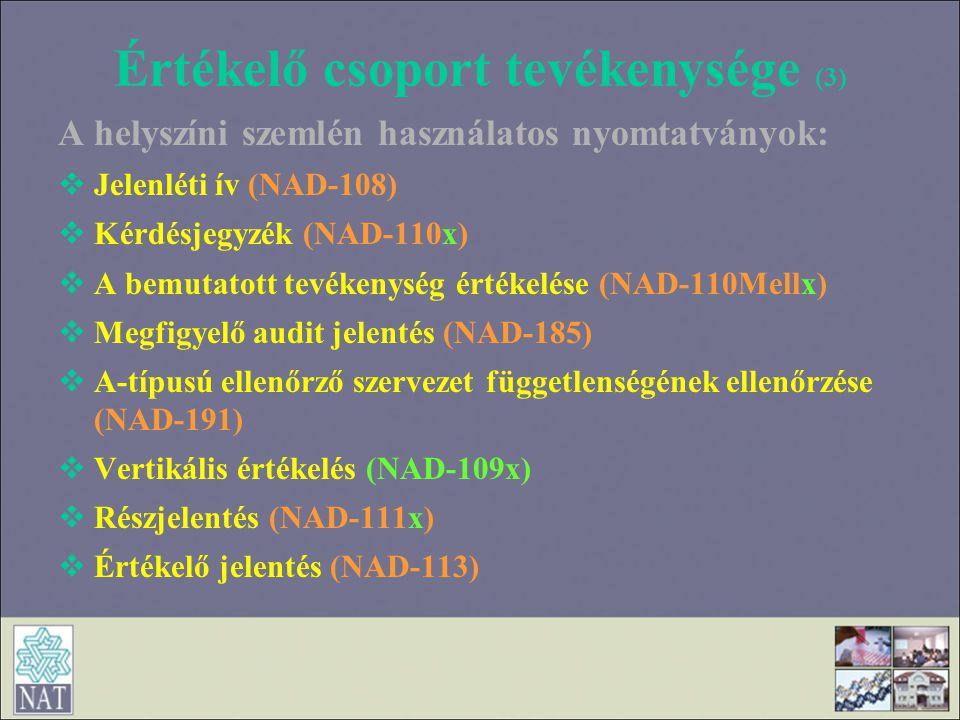 Értékelő csoport tevékenysége (3) A helyszíni szemlén használatos nyomtatványok:  Jelenléti ív (NAD-108)  Kérdésjegyzék (NAD-110x)  A bemutatott te