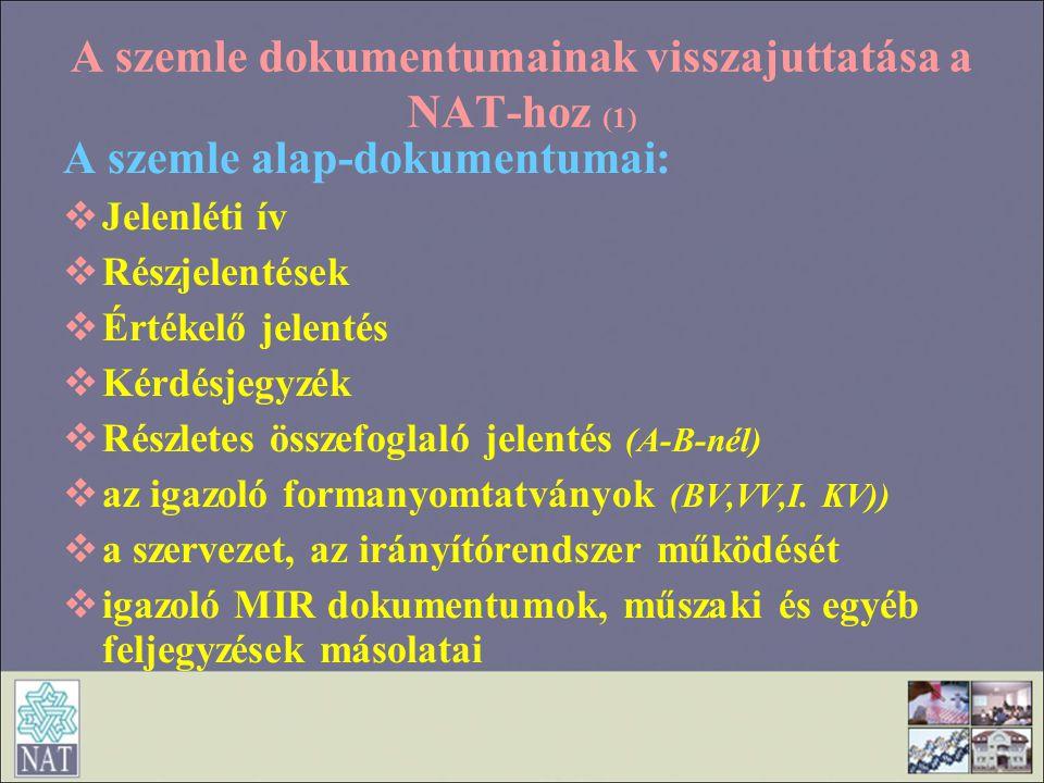 A szemle dokumentumainak visszajuttatása a NAT-hoz (1) A szemle alap-dokumentumai:  Jelenléti ív  Részjelentések  Értékelő jelentés  Kérdésjegyzék