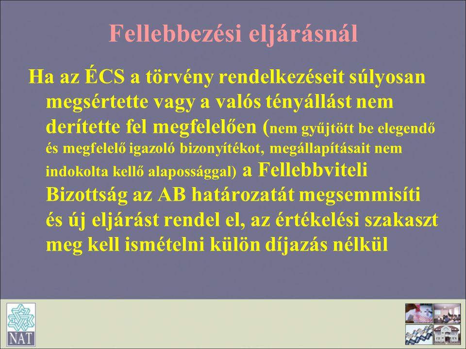 Fellebbezési eljárásnál Ha az ÉCS a törvény rendelkezéseit súlyosan megsértette vagy a valós tényállást nem derítette fel megfelelően ( nem gyűjtött b