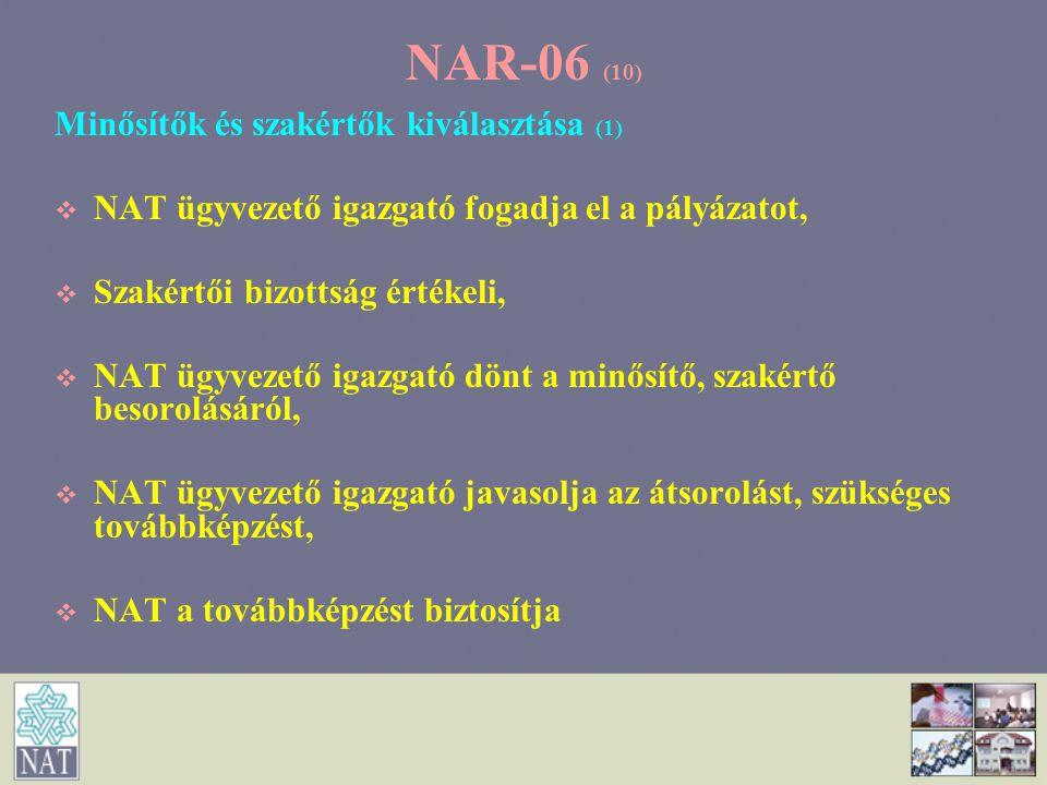 NAR-06 (10) Minősítők és szakértők kiválasztása (1)   NAT ügyvezető igazgató fogadja el a pályázatot,   Szakértői bizottság értékeli,   NAT ügyv