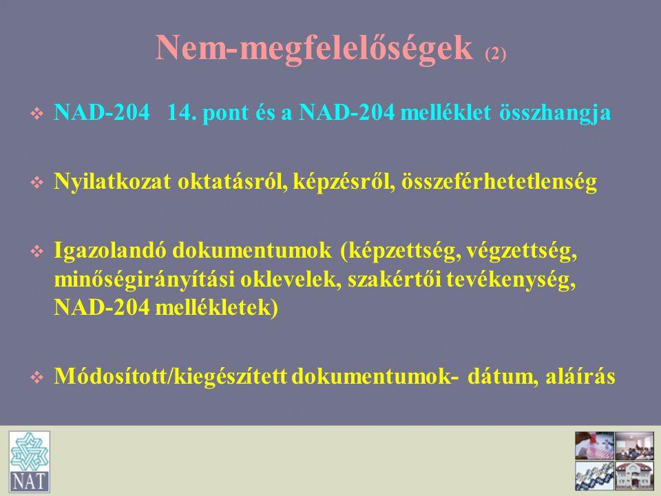 Nem-megfelelőségek (2)   NAD-204 14. pont és a NAD-204 melléklet összhangja   Nyilatkozat oktatásról, képzésről, összeférhetetlenség   Igazoland