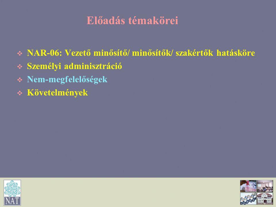 Erőforrásokkal kapcsolatos követelmények (17) Az értékelés ellenőrzése   Auditorok (szakterületi minősítése) lehetséges újraértékelése   C melléklet: Különleges szakterület = Szakterület