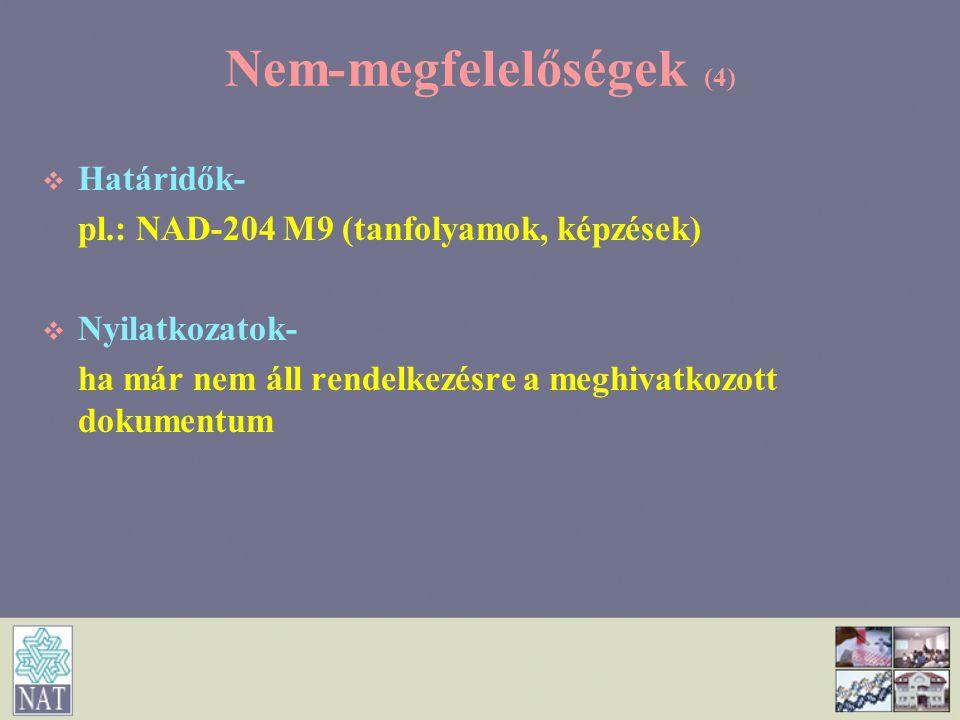 Nem-megfelelőségek (4)   Határidők- pl.: NAD-204 M9 (tanfolyamok, képzések)   Nyilatkozatok- ha már nem áll rendelkezésre a meghivatkozott dokumen