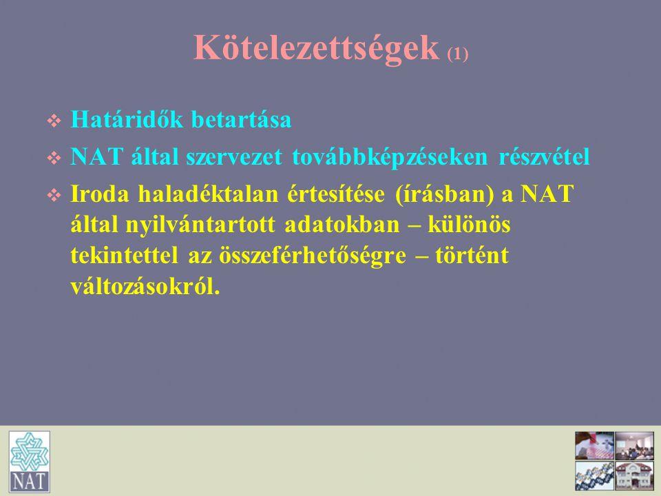 Kötelezettségek (1)   Határidők betartása   NAT által szervezet továbbképzéseken részvétel   Iroda haladéktalan értesítése (írásban) a NAT által