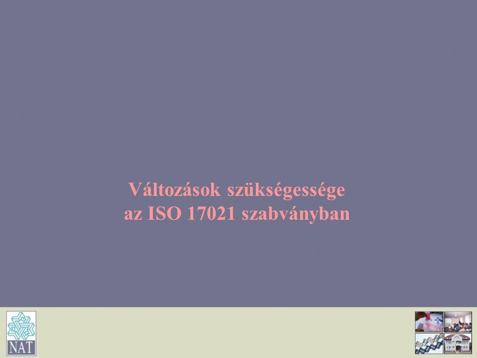 Változások szükségessége az ISO 17021 szabványban