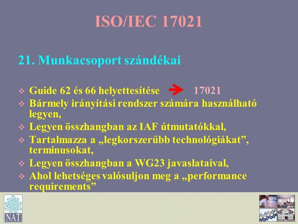 21. Munkacsoport szándékai   Guide 62 és 66 helyettesítése 17021   Bármely irányítási rendszer számára használható legyen,   Legyen összhangban