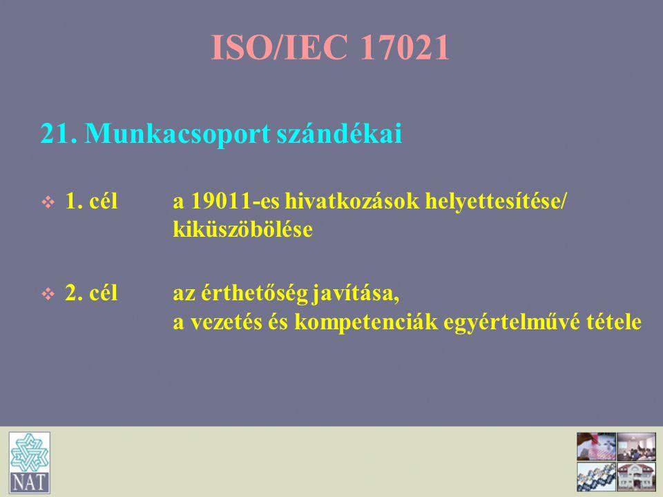 21. Munkacsoport szándékai   1. céla 19011-es hivatkozások helyettesítése/ kiküszöbölése   2. célaz érthetőség javítása, a vezetés és kompetenciák